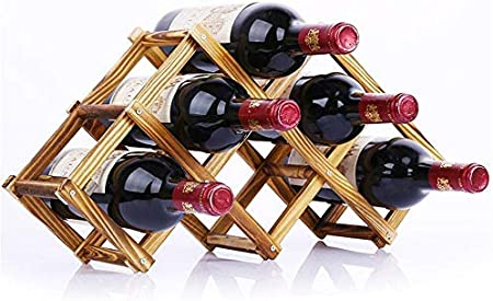 KUMOPYU Estante De Madera para Botellas De Vino, Creativo Y Práctico, Plegable, Sala De Estar, Decoración, Gabinete, Exhibición De Vino, Estante De Almacenamiento -_6 Botellas Vinotecas