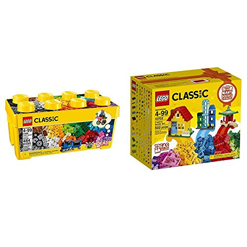 LEGO Classic Medium Creative Brick Box 10696 with LEGO Classic Creative Builder Box 10703 (Exclusive) Bundle