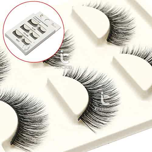 1a389596a67 3 Pairs Long Cross False Eyelashes Makeup Natural 3D Fake Thick Black Eye  Lashes Icycheer Soft