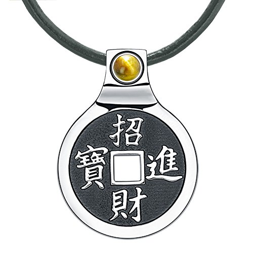 Feng Shui Lucky Coin Amulet Kanji Magic Fortune Powers Unique Charm Tiger Eye Leather Pendant Necklace (Designer Style Tiger Eye)
