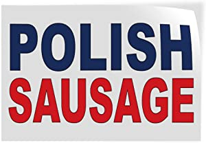Decal Stickers Multiple Sizes Polish Sausage Blue Red Bar Restaurant Food Truck Industrial Vinyl Safety Sign Label Restaurant & Food 12x8Inches