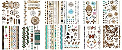 12 Sheets of Metallic Temporary Flash Tattoos Gold, Silver and Multi-Colored.