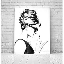 Audrey Hepburn Rocks Fine Art Print B&W Style Icon Black & White Salon Decor Gift
