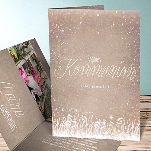 Kommunion Einladungen selber machen, Zauberlicht Kommunion 15 Karten, Vertikale Klappkarte 105x148 inkl. weiße Umschläge, Braun