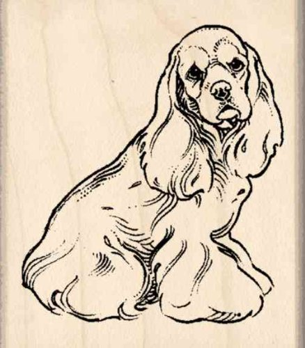 Cocker Spaniel Rubber Stamp1-3/4 inches x 2 inches