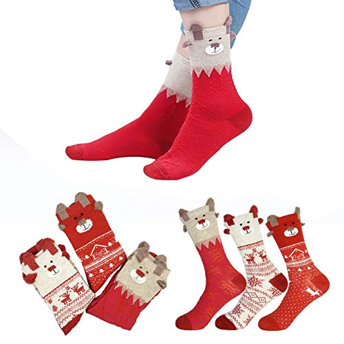Christmas Cotton Warm Casual Socks - Women Colorful New Design Sock Kids Socks Girls Boys Christmas Soft Cotton Socks (3 pair, Multi) ()