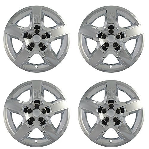 Hubcaps for Chevy Malibu (Pack of 4) Wheel Covers - 17 Inch, 5 Spoke, Snap On, Chrome