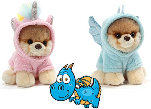 Gund Itty Bitty Boos Blue Dragon # 45 and Pink Unicorn #44 Fairy Tale Magic Animals Special Set of 2 Plush 5