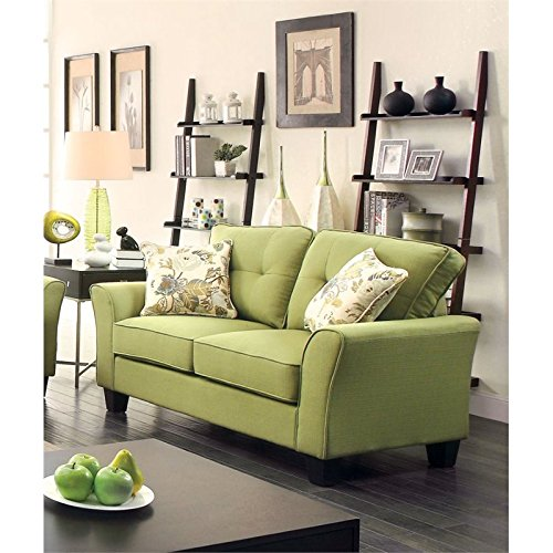 Furniture of America Pryor Tufted Linen Loveseat in Green