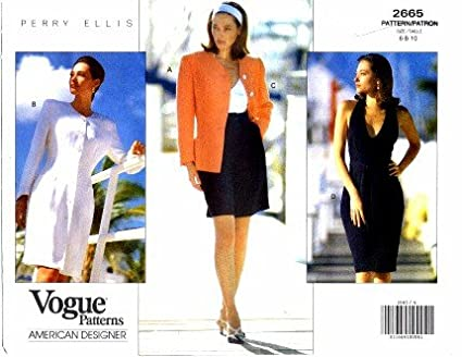 Amazon.com: Vogue 2665 Sewing Pattern American Designer Perry Ellis ...