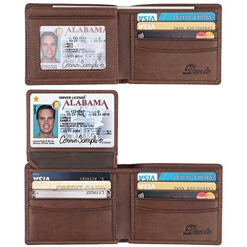 Sheepskin Window - Dante RFID Blocking Cowhide Leather Bifold Wallet for Men with 2 ID Windows(Sheepskin Coffee)