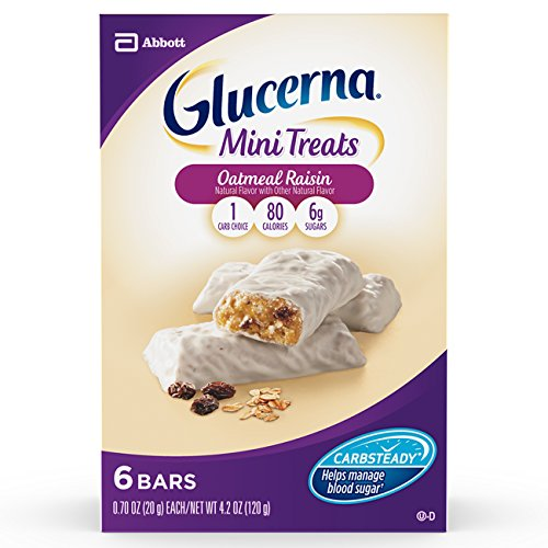 Glucerna Mini Treat Bars to Help Manage Blood Sugar, Oatmeal Raisin, 0.70 Ounce, 6 Count