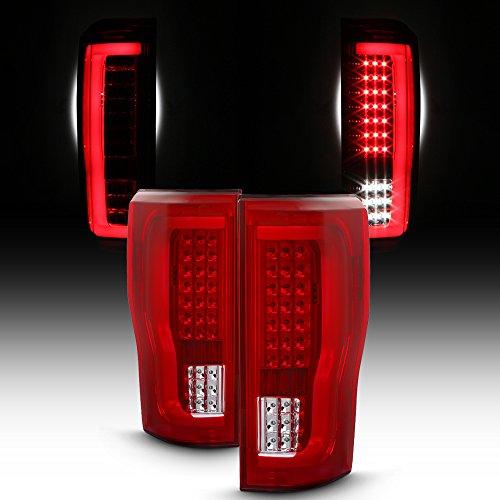 (For 2017-18 Ford F250/F350 Full LED Daytime Running Lamp Bar Tail Lights Chrome Housing Red Clear Lens)
