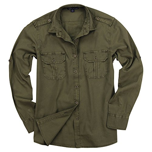 UB Apparel & Gear Women's Classic Long Sleeve Military Style Shirt (Military Olive Green, (Classic Olive Green)
