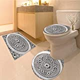 MikiDa Non Slip Bathroom Rugs silver lacquer show flower art balance global crafts thai artists place Absorbent Cover