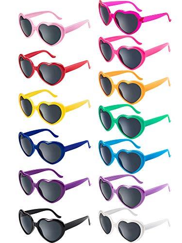 13 Pairs Heart Kids Sunglasses Neon Color Heart Sunglasses Heart Lightweight Sunglasses for Kids Party Favor Supplies