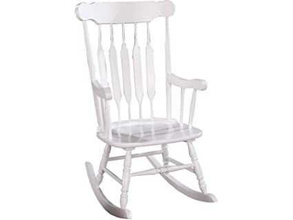 Coaster Traditional White Wood Rocking Chair With Slatted Back