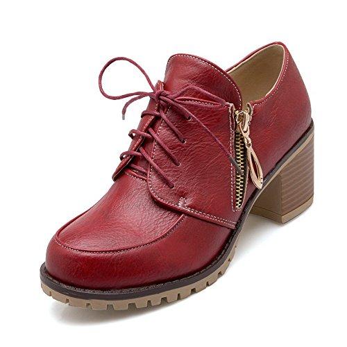 Amoonyfashion Womens Rits Kitten-hakken Pu Solide Ronde Gesloten Teen Pumps-schoenen Rood