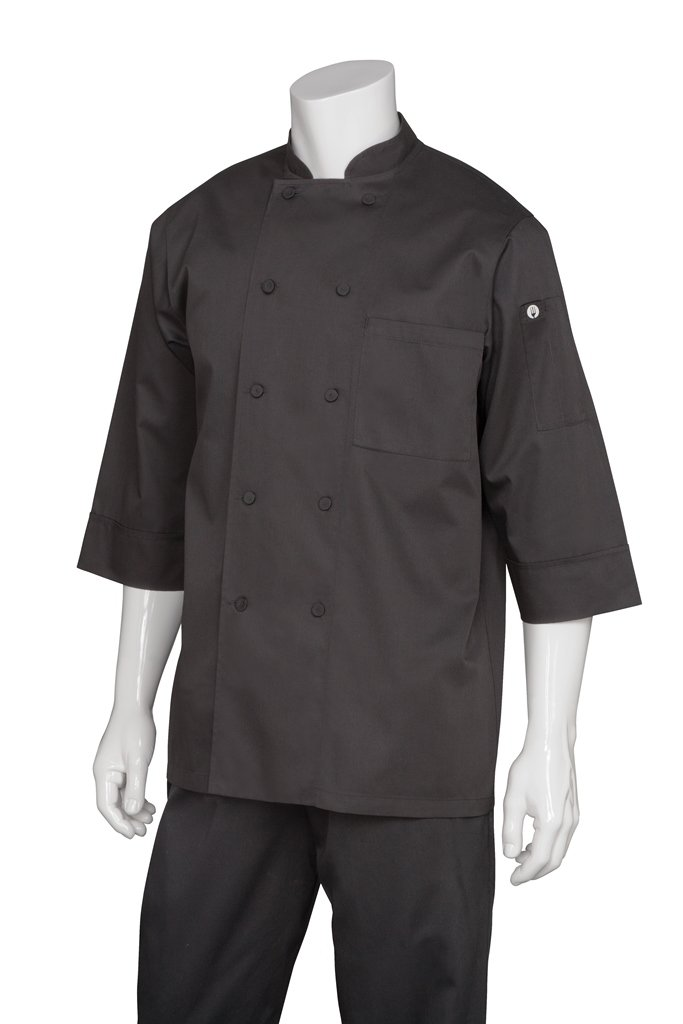 Chef Works Mens Morocco Short Sleeve Chef Coat, Black, X-LARGE