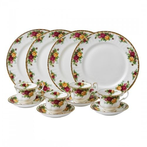 Royal Doulton-Royal Albert Old Country Roses 12-Piece Set, Service for 4 (Bone China Royal Doulton Fine)