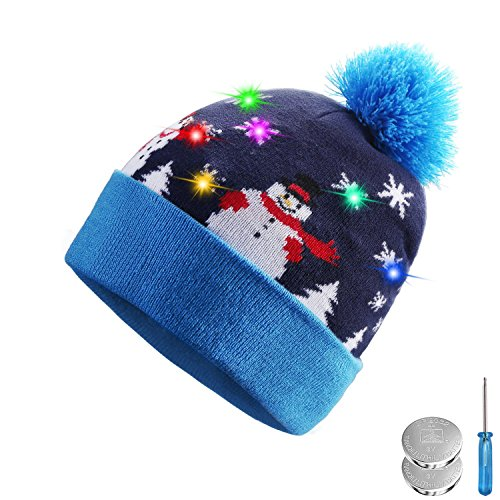 Tagvo+LED+Light+Up+Hat+Beanie+Knit+Cap%2C+6+Colorful+LED+Xmas+Christmas+Hat+Beanie%2C+Winter+Snow+Hat+Sweater+Ugly+Holiday+Hat+Beanie+Cap