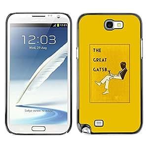 FECELL CITY // Duro Aluminio Pegatina PC Caso decorativo Funda Carcasa de Protección para Samsung Note 2 N7100 // The Great Gatsby Book Yellow Cover Read