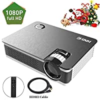 """1080P Projector.XINDA HD True Native 1920X 1080P Video Projector for 210""""Display,3500 Lumens and 60,000 Hours Projector,Home Cinema Theater Support Smartphones Blu-ray DVD Laptaps Amazon Fire TV Stick"""