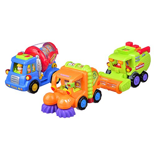 Coolecool Push and Go Friction Powered Cars Pull Back Vehicles for Baby Toys 18 Months and Up (3 Play Vehicles: Cleaner…