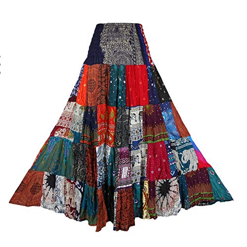 BONYA Women's Hippie Boho Colorful Patchwork Smocked Stretch Waist Tiered Long Skirt (Color13)