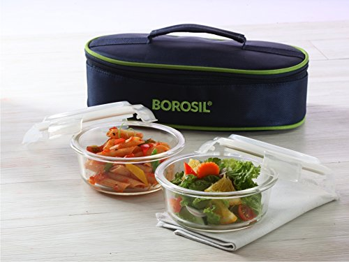 Borosil Microwavable Borosilicate Glass Klip N Store Round Lunch Box Set, 400ml, 2-Pieces (Round 400 ml x 2 With Lunch (Tiffin Set)
