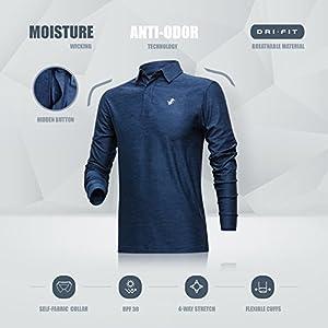 Jolt Gear Men's Dry Fit Long Sleeve Polo Golf Shirt, Moisture Wicking, Navy Blue