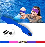 Jelleo Swimming Headband by KHEJA - with Free Swimming Earplugs - Hold Earplugs In, Physician Developed, Doctor Recommended(BLUE M-SIZE)
