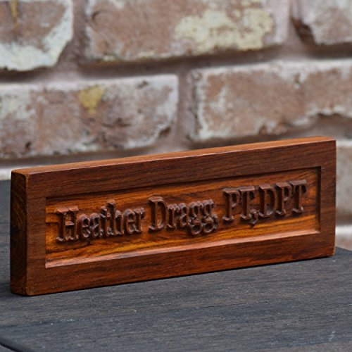 Handcrafted African Cocobolo Wood Desk Engraved Nameplate