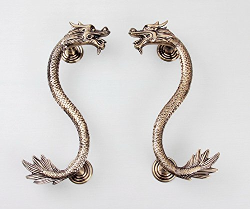 China Dragon Antiqued Double-faced Carving Solid Copper Modern Entrance Entry Store Front Door Handlesets Timber Frameless Glass Door Pull Push Handles Double-sided (20 Inches /500x270x32mm, Brass)