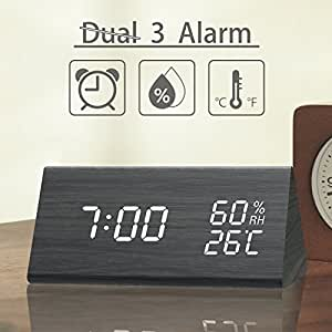 Digital Alarm Clock, 3 Alarm Settings, with Wooden Electronic LED Time Display, Dual Temperature & Humidity Detect, Ideal for Bedroom, Bedside Kids and Heavy Sleeper, Batteries not Needed