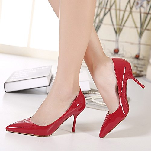 Thin Shoes Heels Summer Are Single And Lacquer And Shallow 8Cm In High Sharp Heels Spring Black SFSYDDY BqOxg0Y