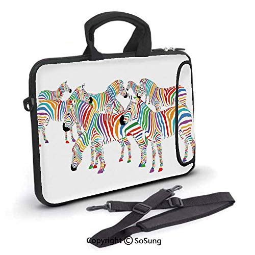 17 inch Laptop Case,Colorful Cute Animal Herd with Rainbow Stripes Figure Digital Art Print Modern Safari Neoprene Laptop Shoulder Bag Sleeve Case with Handle and Carrying & External Side Pocket,for N