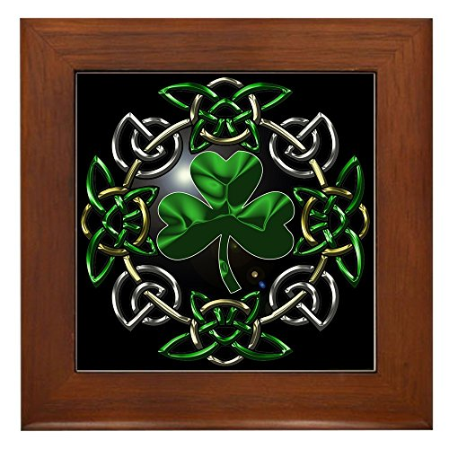 CafePress - St. Patrick's Day Celtic Knot Framed Tile - Framed Tile, Decorative Tile Wall ()