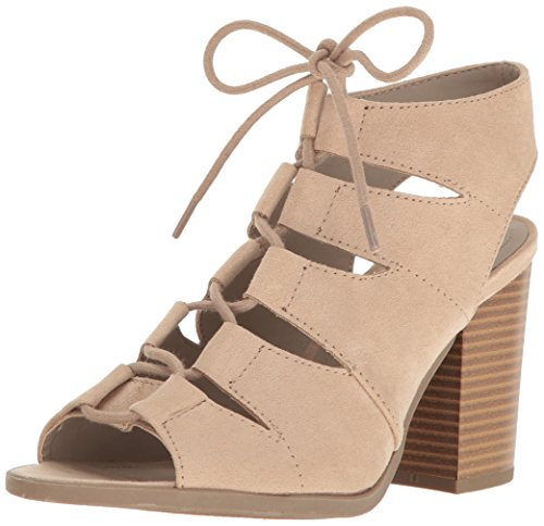 Rampage Women's Emmie Lace up Chunky Heel Peep Toe Gladiator Bootie Sandal, Taupe Microsde, 6.5 M US (Rampage Shoes Com)