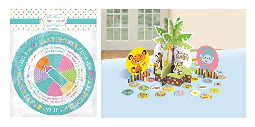 amscan Spinner Baby Shower Game and Set of 23 Jungle Baby Shower Table Decorating Kit Bundled by Maven Gifts