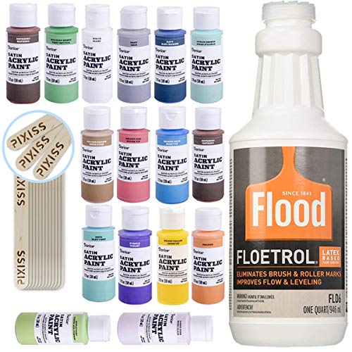 1 Quart Flood Floetrol Additive, 16 2-Ounce Acrylic Paints, 20x 6-inch Pixiss Wood Mixing Sticks