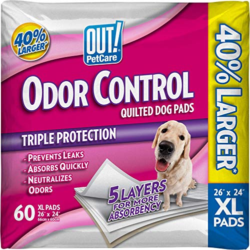 OUT! Odor Control Extra Large Dog and Puppy Training Pads, 26 x 24...