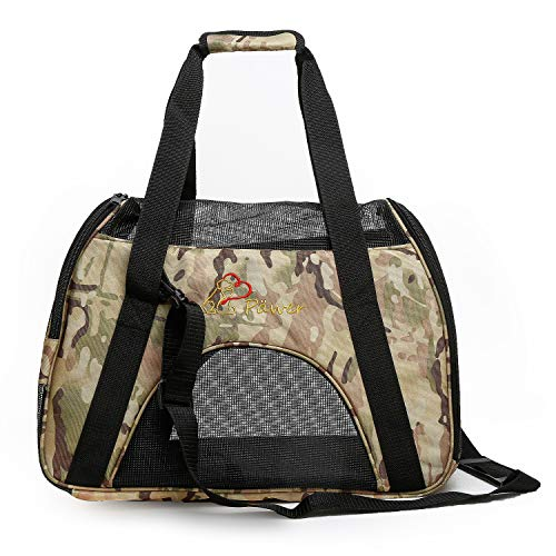 Pawer Soft-Sided Pet Carrier for Cat and Small Dog,Desert Camouflage Pattern,Medium Size,Washable Cloth Airline Approved Travel Tote,with 2 Mesh Opens and a Strap for Carry,Multiple Colors Available
