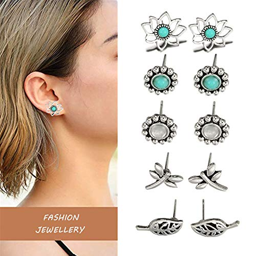 Songlanbuy Turquoise Lotus Flower Stud Earrings, Hypoallergenic Hollow Leaves Ear Stud Vintage Punk Dragonfly Earrings Simple Chic Camellia Stud Petite Fleur Back Cuffs Earrings (5 Pairs Lotus ()