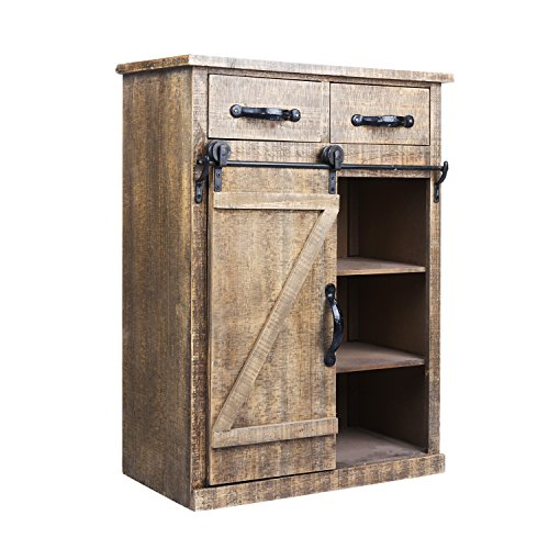 Paris Loft 32''H Rustic Barn Door Wood End Table Wood Console Cabinet, Farmhouse Wood Storage Cabinet Country Vintage Furniture