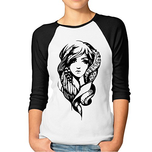 (DonSir Fantasy Girl Women Baseball Raglan Tshirt Black XL)