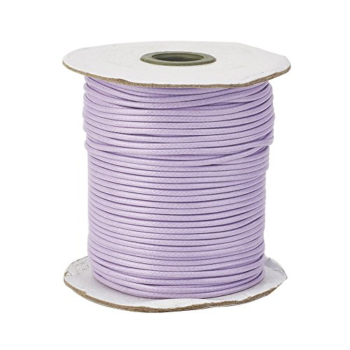 (Pandahall 1Roll/93yards 1mm Thick Korean Waxed Cord Polyester Beading Synthetic Fibers Cord Thread for Jewelry Makings Plum)