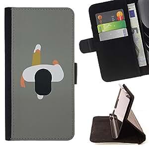 Momo Phone Case / Flip Funda de Cuero Case Cover - Arte Hombre 2D Minimalista Gris Diseño - Apple Iphone 4 / 4S