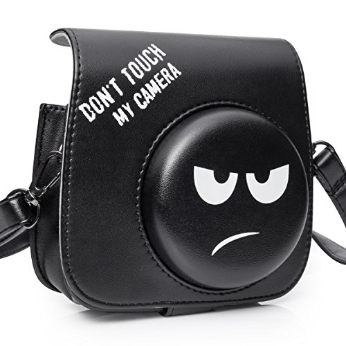 CAIUL Compatible Mini 8 Groovy Emoji Camera Case Bag for Fujifilm Instax Mini 8 8+ 9 Camera - Black, Don't Touch My Camera