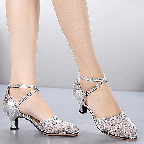 Masocking@ Mujer Zapatos de Baile Sandalias Tacón Alto de fondo blando de verano Silver
